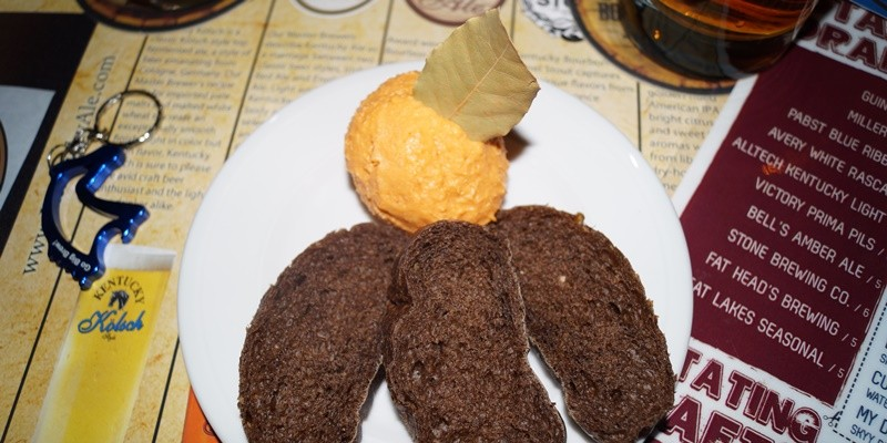 Here's What You Missed at Last Night's Kentucky Beer Dinner at Reddstone Kentucky cheddar beer dip served with sliced german pumpernickel