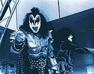 Knights in customer service: Kiss's Simmons and Stanley preen for the Rock Hall crowd. - WALTER  NOVAK