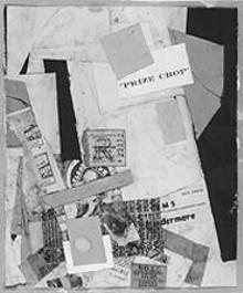 """Left: """"Merz-101: Prize Crop,"""" by Kurt Schwitters, collage."""