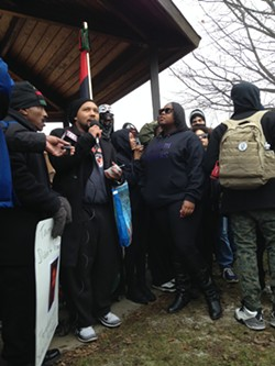 Charles Wade, speaking to gathered protesters Saturday morning at Cudell Rec Center. - SAM ALLARD / SCENE