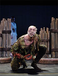 Lynn Robert Berg cuts a gothic figure as Caliban in Shakespeare's The Tempest.