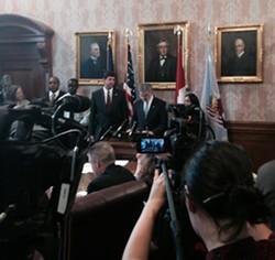 "Mayor Jackson, probably saying either ""defining"" or ""moment."" - SAM ALLARD / SCENE"