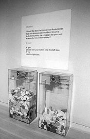 """MoMa Poll,"" by Hans Haacke, acrylic ballot boxes."