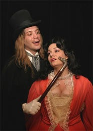 Mr. Hyde (Dan Folino) does his best Fabio imitation for Lucy Harris (Amiee Collier).