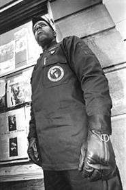 Najee Muhammad, at the New Black Panthers' Euclid - Avenue headquarters & grill. - WALTER  NOVAK