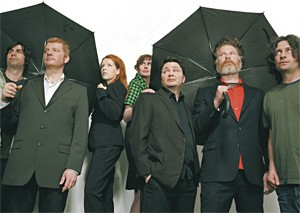 New Pornographers: Expecting rain? Or just freaky Canadians with umbrellas?