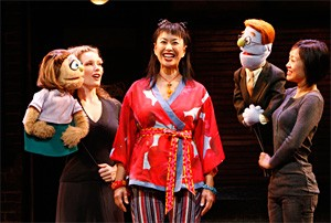 Not your mother's Muppets: Kelli Sawyer as Kate Monster and Angela Ai as Christmas Eve.