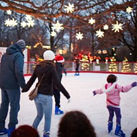 15 Things Going on in Cleveland Over Thanksgiving Weekend One of Cleveland's only outdoor ice-skating rinks, the free ice rink at Wade Oval opens today at noon. There will be concerts, movie nights and Skate with Santa on Wednesdays throughout the month of December. After you've finished skating, enjoy discounted admission to other University Circle attractions by showing your Wade Oval Rink wristband. The rink remains open until March 17. (Rus) Photo Courtesy of Hermes Cleveland, Facebook