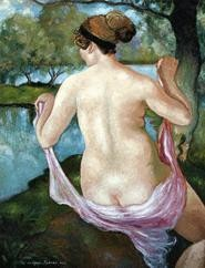 Pissaros Femme Nue de Dos is on view at Contessa - Gallerys Impressionist show.