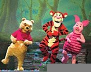 Pooh, Tigger, and Piglet have a contest to see who can stand on his left leg the longest (Thursday).