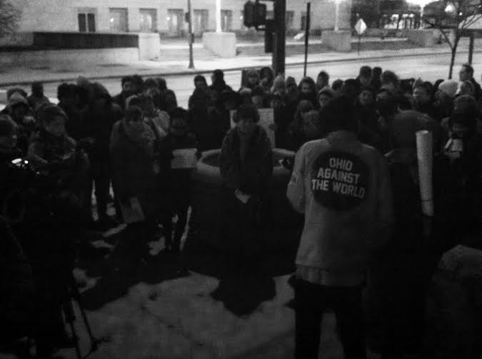 Protesters congregate outside City Hall on Dec. 1. - ERIC SANDY / SCENE