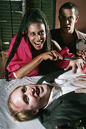 Saidah Mitchell (left), Tom Kondilas (right), and Ryan Smith in My Date With a Zombie. - STEVE WAGNER