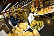 """Students enjoy the fruits of Case Western Reserve's """"Eat Local Challenge."""" - WALTER  NOVAK"""