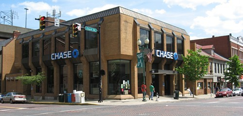 The alleged sexual assault took place outside of this bank on Court Street last weekend.