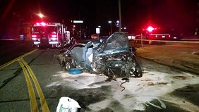 The crash scene, as photographed by the Lakewood Fire Department last night. - @LAKEWOODFIRE