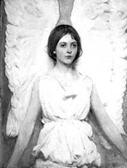 "The daughter of Abbott Handerson Thayer was the model for ""Angel,"" Thayer's 1887 oil painting."