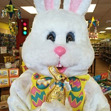 ALL CITY CANDY - The Easter Bunny waiting to greet his friends at All City Candy.