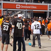 The Recent History Of The Cleveland Browns Told In 15 Now-Obsolete Jerseys The only consolation for two of the three guys of this group is that their jerseys are cheap knock offs. The Peyton Hills (2010-2011) jersey looks like an expensive, officially licensed one, unfortunately. Doug Brown/Cleveland Scene
