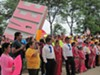 The rally, organized by HOLA in just three days, took place outside the federal building on June 9.