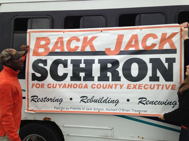 The Schron tour bus; Schron has opted for orange and black -- a seasonal homage? -- for some unconventional campaign colors. - SAM ALLARD / SCENE