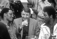 """The unholy trinity: Drew """"Bundini"""" Brown (Jamie Foxx), Howard Cosell (Jon - Voight), and Don King (Mykelti Williamson) wait for the Rumble in the Jungle - in Ali."""