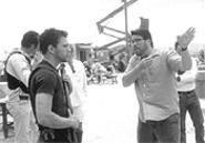 The write man for the job: Chris McQuarrie, right, directs Ryan Phillippe on the set of The Way of the Gun. - JOHN  BAER