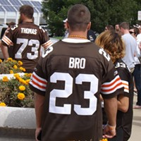 "The Recent History Of The Cleveland Browns Told In 15 Now-Obsolete Jerseys This jersey is sad on several different levels. Not only was it once a #23 LeBron James Cleveland Browns jersey (look closely and you'll see traces of an ""LE"" before the ""BRO"" and an ""N"" after), the basketball player left Cleveland three years ago, forcing this guy to advertise himself as a ""bro"" instead of wearing a football jersey of Cleveland's former basketball hero. Doug Brown/Cleveland Scene"