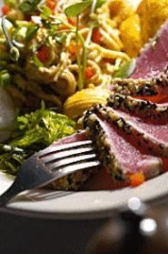 Those Notorious Noodles pair up beautifully with the seared tuna. - WALTER  NOVAK