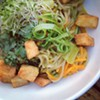 Today's special is a #remix of yesterday's w/ yellow curry, coconut milk, soba #noodles, carrot, sprouts and triple cooked potatoes @chefleber @chefmoustsge #lunch #vegan #realffood #slowfood #localfood #veggies #ramen #clefood