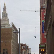 Here Are Two Porta Potties 100 Feet Over Downtown Cleveland