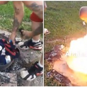 Watch This Video of a Cavs 'Fan' Accidentally Setting Himself on Fire Trying to Burn His LeBron Jersey