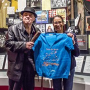 Pere Ubu Singer David Thomas Donates Vintage Sweatshirt and Lawnmower Roller Bar to Rock Hall