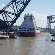 A Freighter Struck the Dock of Shooters on the Water Yesterday Evening