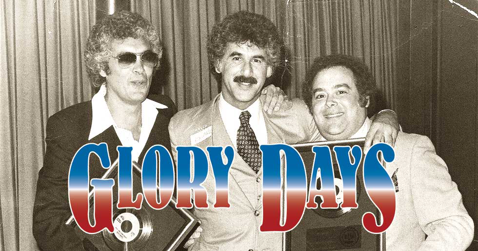 """From left, record company """"insider"""" Carl Maduri, Mike Belkin and Epic Records head Ron Alexenburg - celebrating a partnership in 1976. - PHOTO COURTESY RON HILL"""