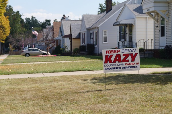 Brian Kazy yard sign in Ward 16. - SAM ALLARD / SCENE