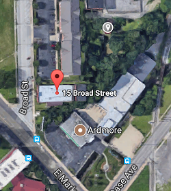 Samuel Adkins' home is pinned at the top of this map, and located just north of the woods behind Sage Lewis' building at 15 Broad St. - GOOGLE MAPS