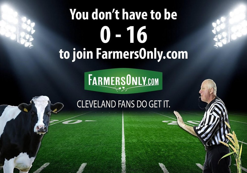 Ad announcing sponsorship of the perfect season Browns parade.