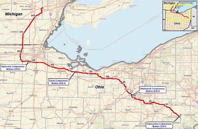 The NEXUS pipeline route - FERC