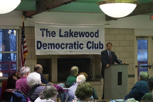 Richard Cordray, speaking at the Lakewood Women's Pavilion, (3/29/2018). - SAM ALLARD / SCENE