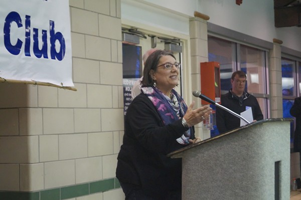 Nickie Antonio addresses the Lakewood Democratic Club (3/29/18). - SAM ALLARD / SCENE