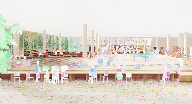 An interior view of the SO-IL + Kurtz proposal for the new Martin Luther King Jr. Library branch. - SO-IL + KURTZ