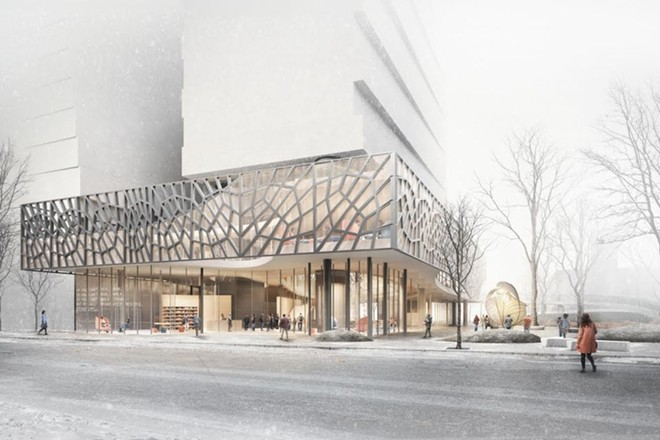 The exterior of the Bialosky & Vines proposal for the new Cleveland Public Library Martin Luther King Jr. Branch - BIALOSKY & VINES