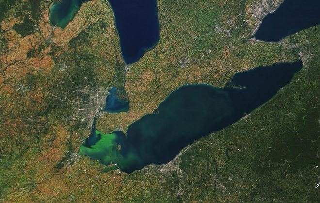 SATELLITE IMAGERY OF SEPT. 2017 ALGAE BLOOM IN LAKE ERIE/NASA