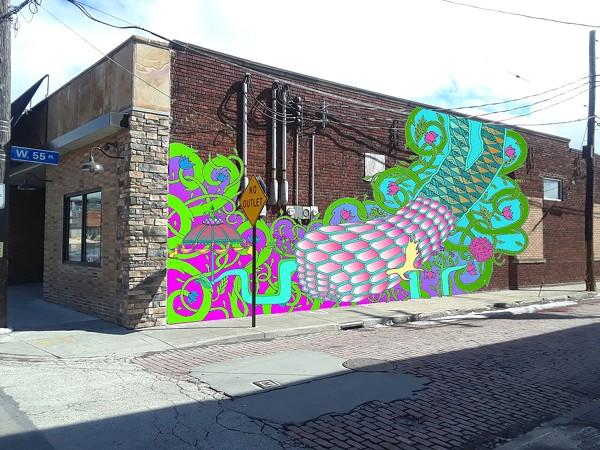 A mockup of Dante Rodriguez' mural at Astoria Café & Market - GSAD MURAL PRESS RELEASE
