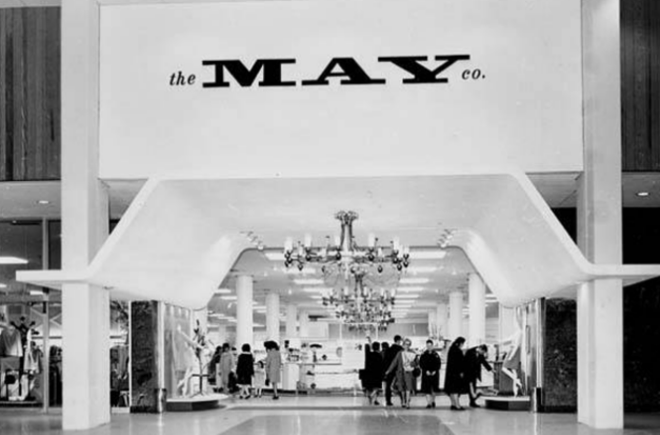 A vintage image of the May Company department store in Parmatown Mall.