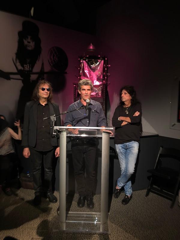 From left: Dennis Dunaway, Greg Harris and Alice Cooper. - HALLE WEBER