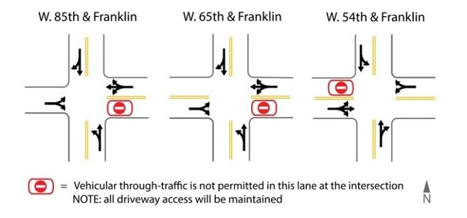 Traffic Diverter locations down Franklin Boulevard - COURTESY OF NORTHEAST OHIO AREAWIDE COORDINATING AGENCY