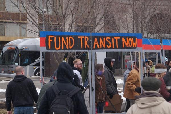 """Rally to Save Transit,"" Public Square, 3/12/2018 - SAM ALLARD / SCENE"