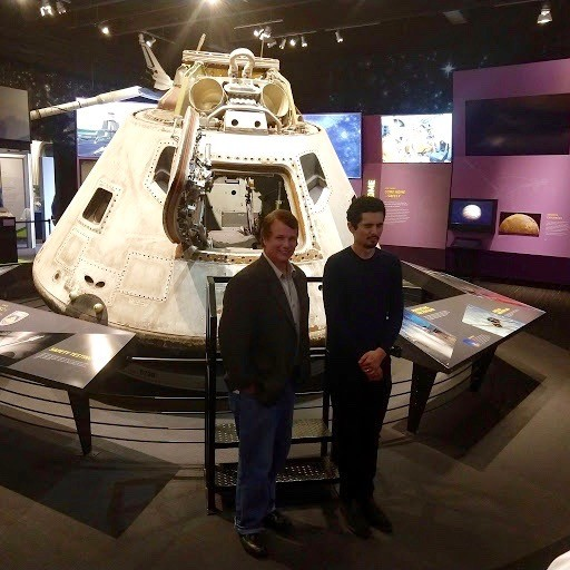 Mark Armstrong (left) and Damien Chapelle in the NASA Gallery at the Great Lakes Science Center