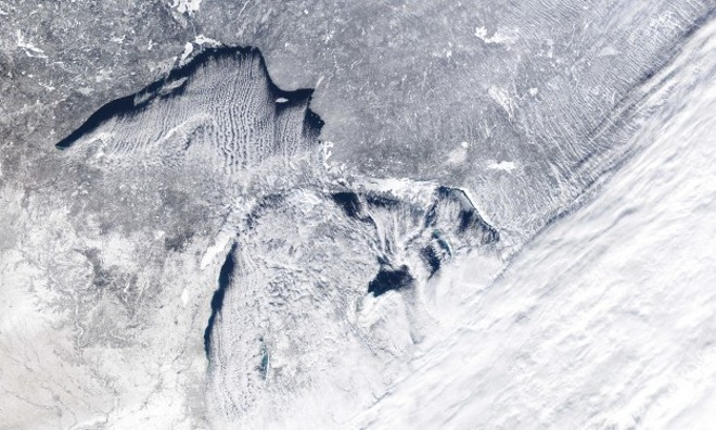 LAKE ERIE ICE COVERAGE SATELLITE IMAGE, GREAT LAKES ENVIRONMENTAL RESEARCH LABORATORY